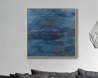 FRAMED Abstract modern contemporary painting, 24x24 inches