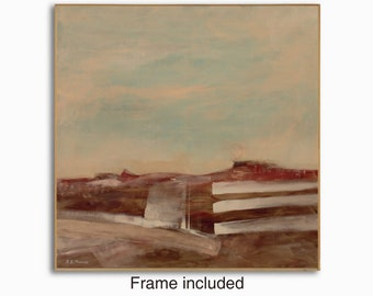 Framed Abstract modern contemporary landscape painting, 30x30 inches