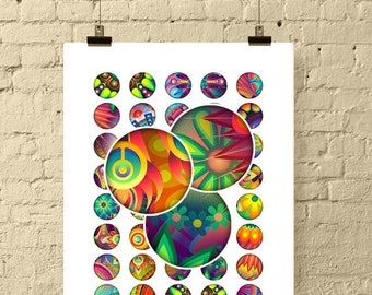 Bright Abstract Floral Ornament 1 Inch Circle Digital Downloads / Printable Bottle Cap Images for Crafts, Pendants / 1 inch Printables / JPG