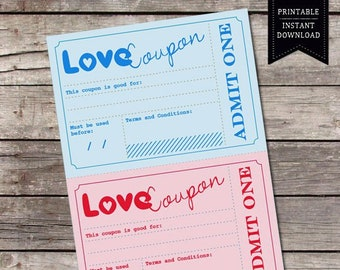 Printable Love Coupons / Romantic Gift Idea for Him Her / Vouchers for Anniversary Birthday Valentines / Printable Coupons, INSTANT DOWNLOAD