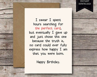 Download THE PERFECT CARD Happy Birthday Romantic Card For Him Or Her Kids Friend Printable Funny Greeting Cards Jpg