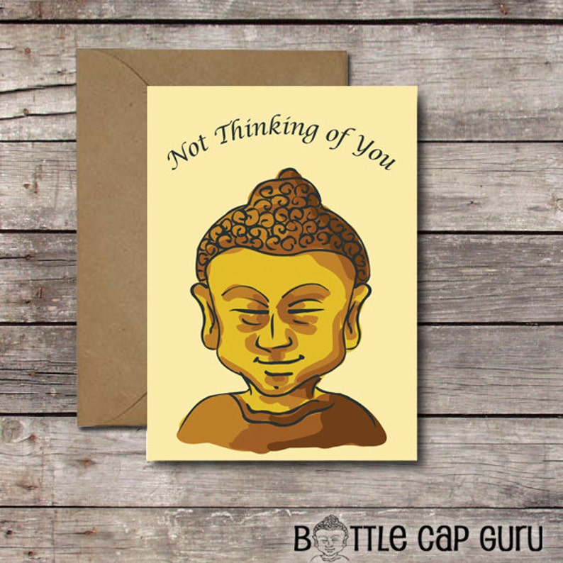 Not Thinking of You / Buddha Greeting Card / Funny Card for image 0