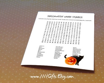 Halloween Word Search Printable * 28 Spooky Words for Kids and Adults * Halloween Word Sheet, Puzzle, Party Game Printable *Instant Download