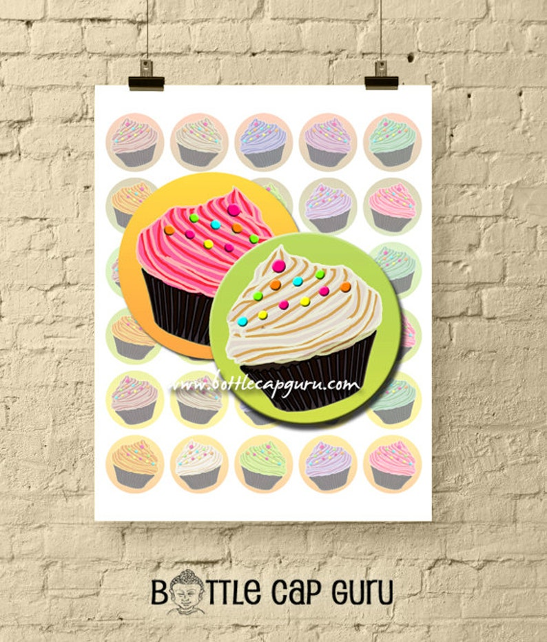 Cupcakes with Sprinkles / Colorful 1.5 Inch Round Bottle Cap image 0