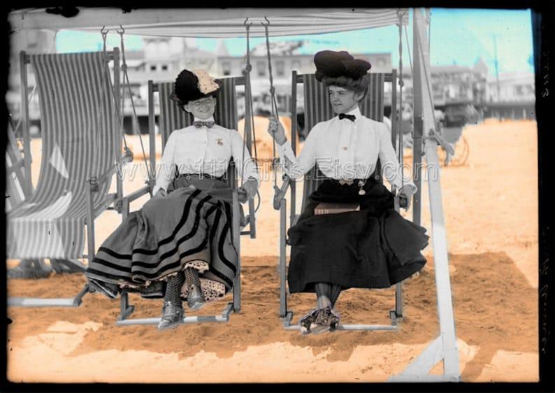 1905 Atlantic City Beach  Vintage Colorized Digital Postcard image 0