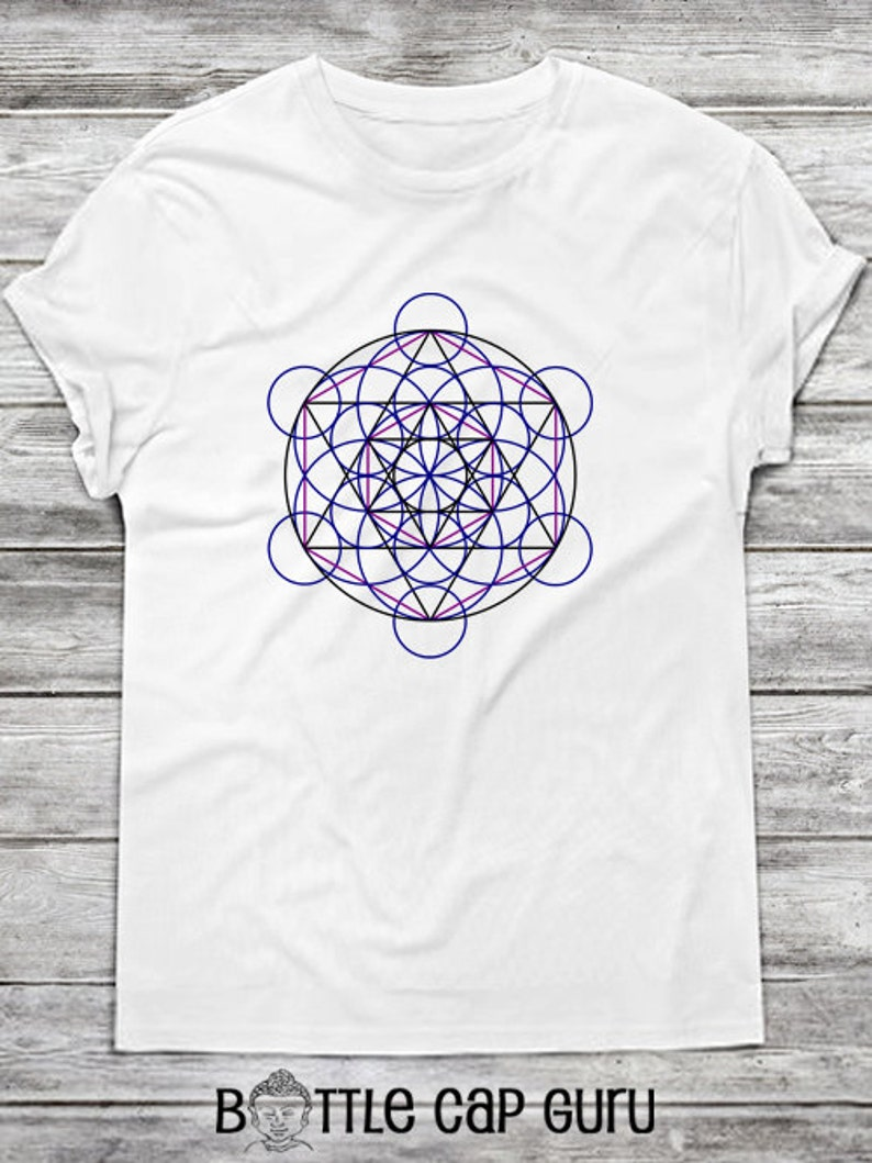 Merkaba Field Iron On T-Shirt Transfer / Flower of Life with image 0