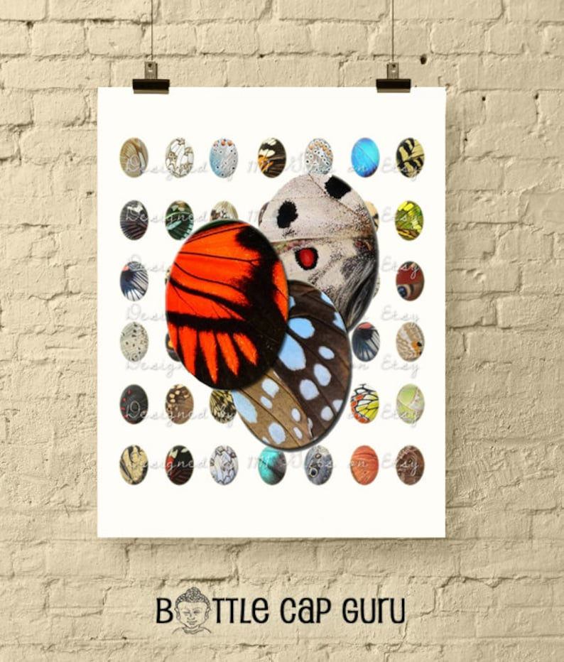 Butterfly Wings Patterns  18x25mm Oval Digital Collage Sheet image 0