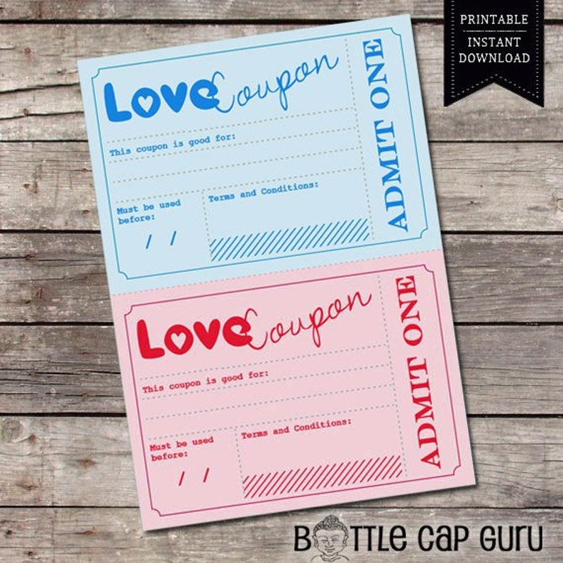 Printable Love Coupons Romantic Gift Idea For Him Her