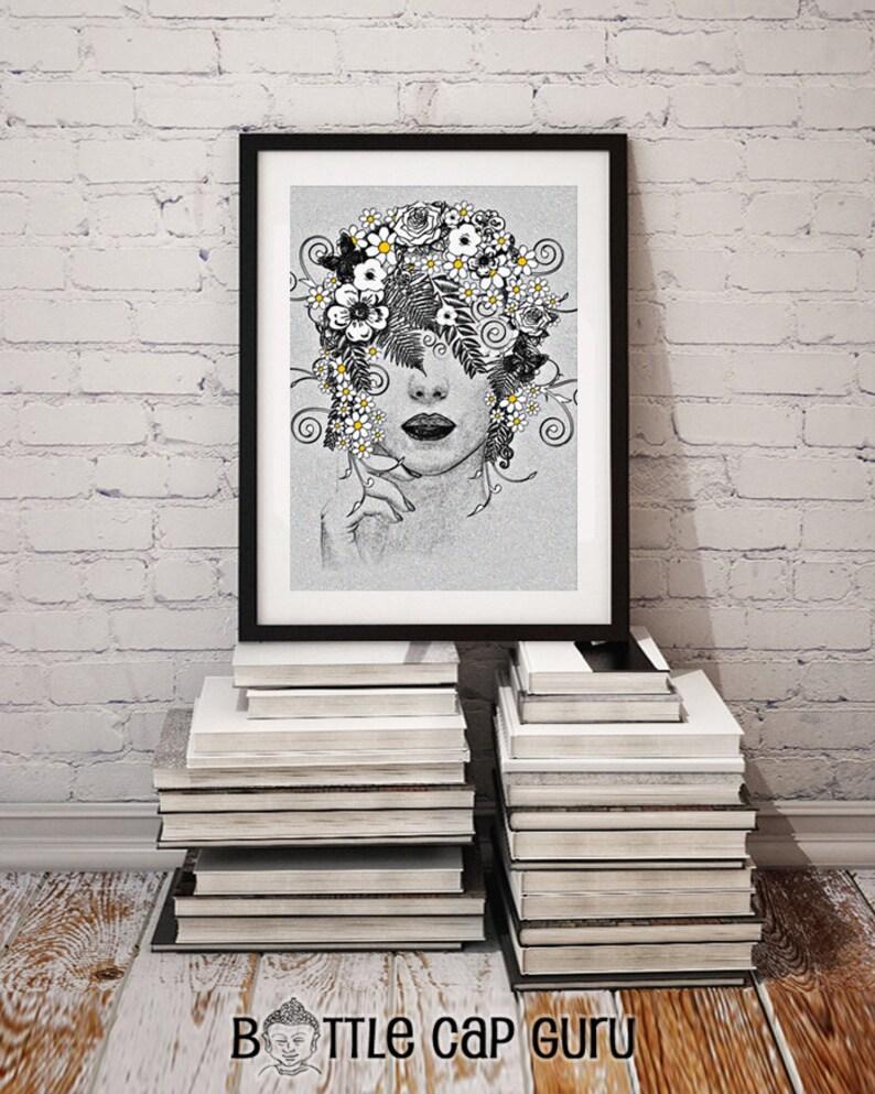 DAISY GODDESS / Printable Art for Home Decor / Woman Flowers image 0