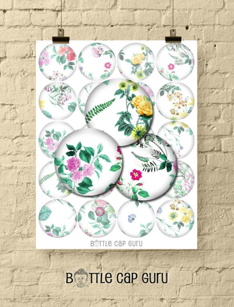 FLORAL WHITE 2 Inch Circle Digital Collage Sheet / Flower Art image 0