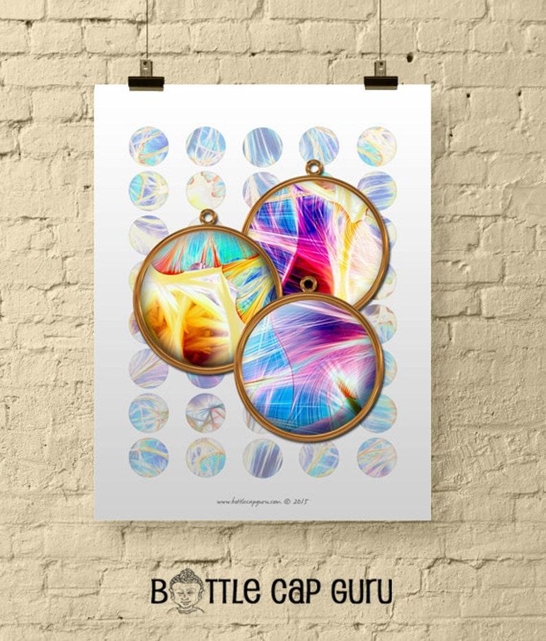 FRACTAL FANTASY CIRCLES / Digital Collage Sheet 1 Inch Size image 0