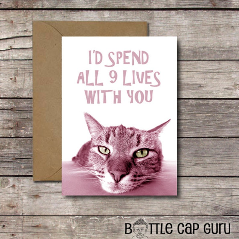 I'd Spend All 9 Lives with You / Funny Anniversary Card image 0
