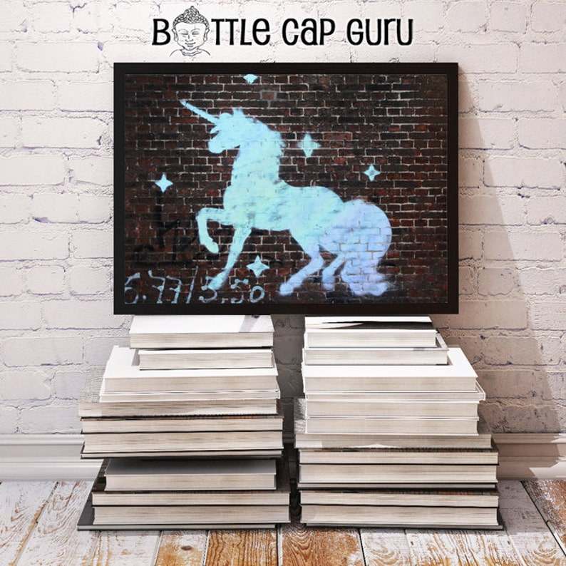 Unicorn Graffiti on Brick Wall  10x8 Art Unicorn Decor image 0