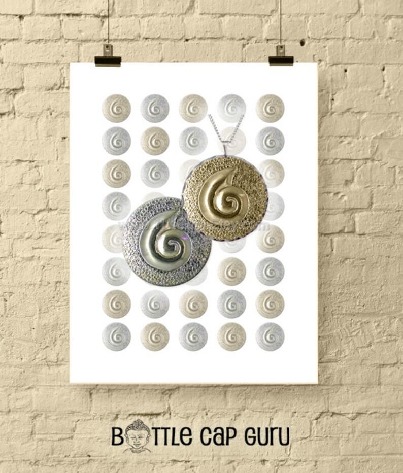 Silver & Gold Spirals  1 Inch Circle Digital Downloads image 0