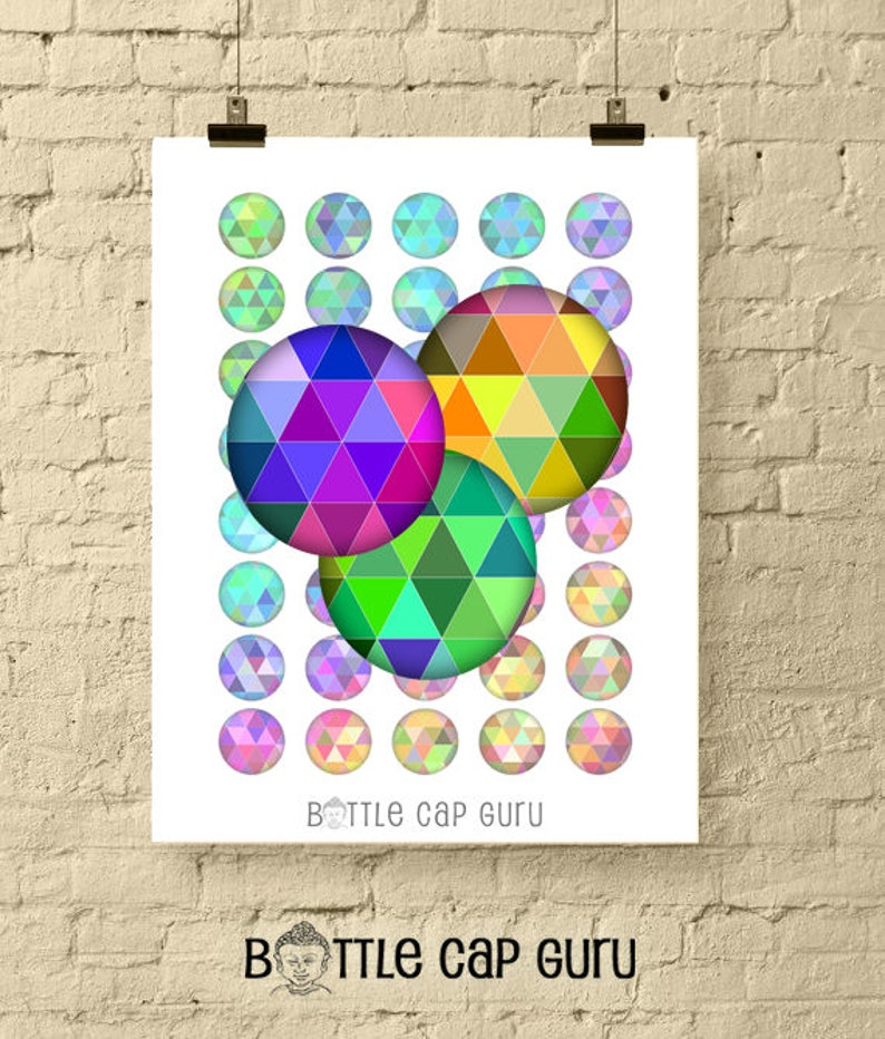 Geometric Triangles 1 Inch Circles / Round Digital Collage image 0
