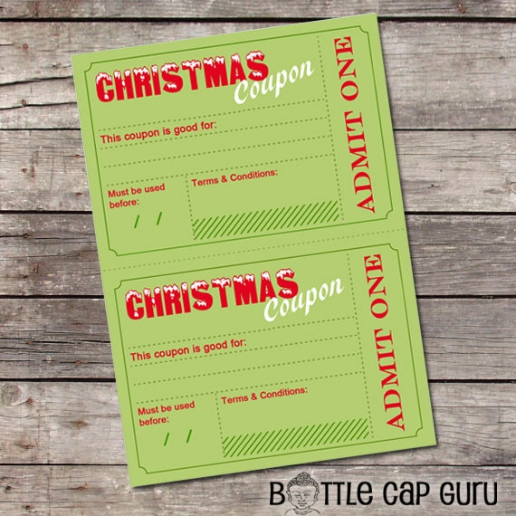 Printable Christmas Coupons DIY Holiday Vouchers Template Etsy