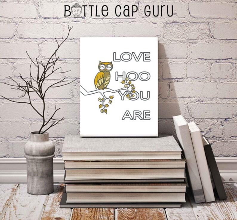 Owl Quote Art Print / Love HOO You Are / Printable Wall Art image 0