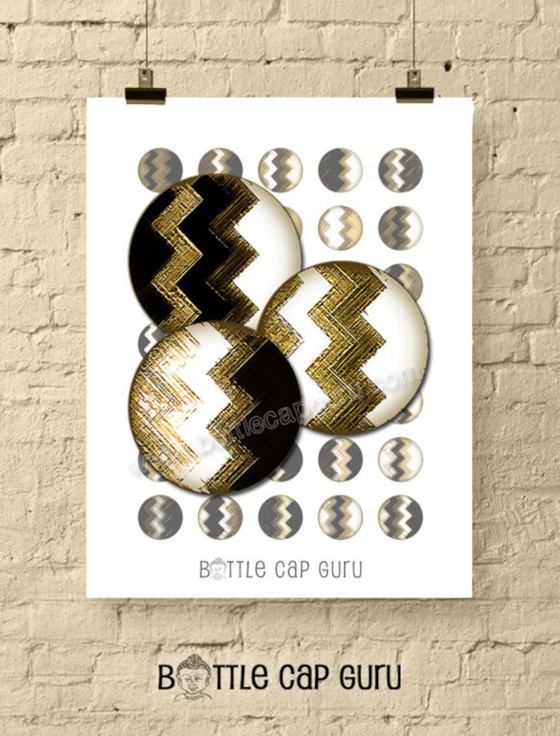 GEOMETRIC ZIGZAGS / Black White & Gold 1 Inch Circles Digital image 0