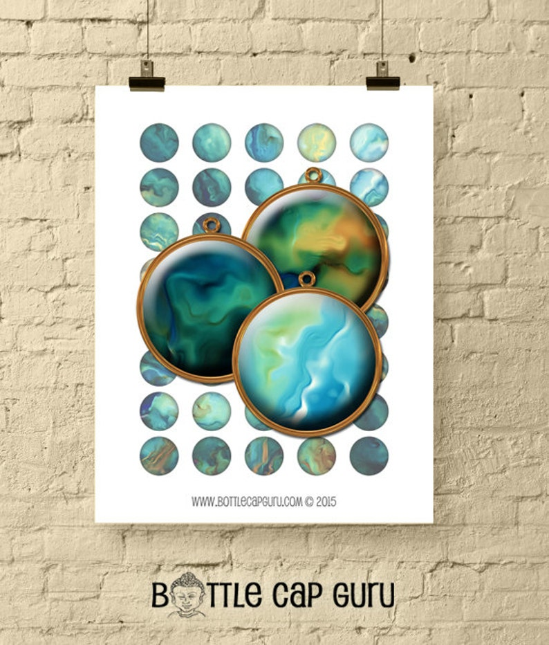 SILKY OIL PAINT Circles / Digital Collage Sheet 1 Inch Size image 0