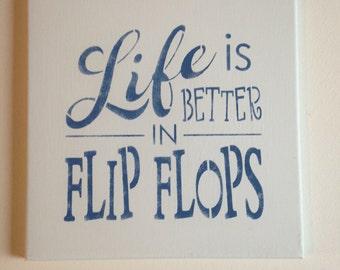 "Flip flops 12""x12"" wall canvas"