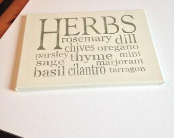 "Herbs 10""x14"" wall canvas"