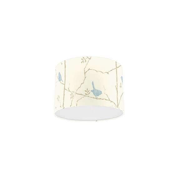 Sanderson Dawn Chorus Mineral Blue Bird, Fabric Drum Lamp Shades