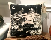Foxes in Love - Silkscreened Papercut Pillow with Shibori Indigo Back
