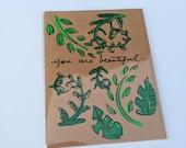 You are beautiful - Fern & Monstera Leaf Card