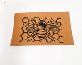Bee & Honeycomb - Lino cut print