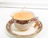 Local Ontario Beeswax Candle in a Vintage Teacup