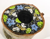 Live Edge Birch Tealight Holder - Handpainted with Bees & Borage Design