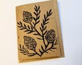 Pinecone Lino Print Card - Black