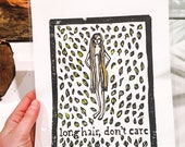 Long hair don't care - hand tinted block print
