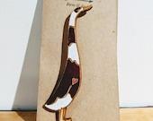 Laser Cut Wooden Indian Runner Duck Pin - Brown & White
