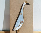 Laser Cut Wooden Indian Runner Duck Pin - Grey & White