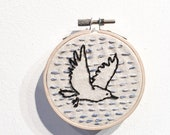 Bird in Flight Embroidered Hoop Art