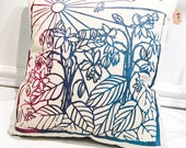 Papercut Bees & Borage Pillow - 100% Cotton, Silkscreened in water based ink, Indigo dyed shibori style back