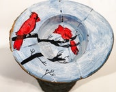 Live Edge Maple Tealight Holder - Cardinals in Winter Design Hand Painted in Acrylic Gouache