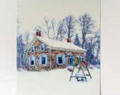 Farmhouse in Winter Postcard