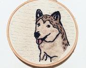 Maple the Malamute Needle Felted & Embroidered Hoop Art