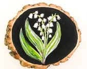Lily of the Valley Painting on Live Edge Black Locust Slice