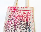 Bees and Borage - Silkscreened Gradient Canvas Tote