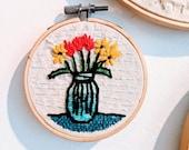 Mason Jar Bouquet Embroidery