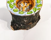 Live Edge Maple Tealight Holder - Hidden Birdsnest Design Handpainted in Acrylic Gouache
