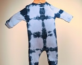 Indigo Dyed Sleeper - Shibori Blocks (3-6 Months)