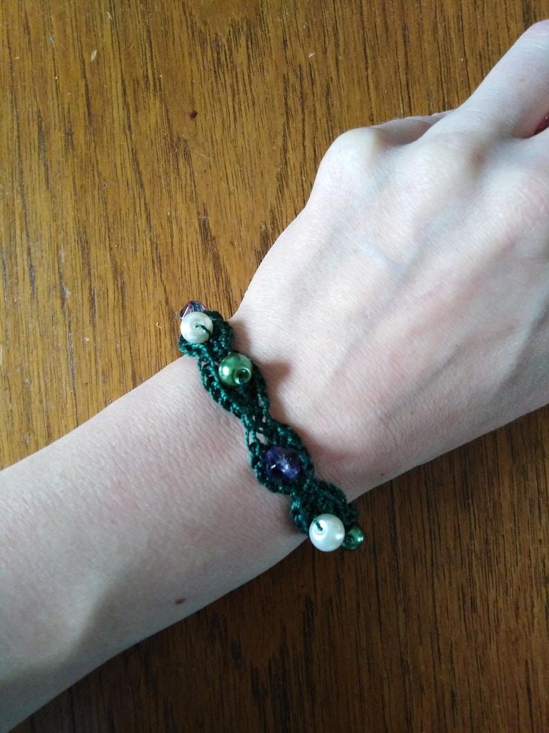 one off sample Handmade Feminist Suffragette Crocheted beaded bracelet