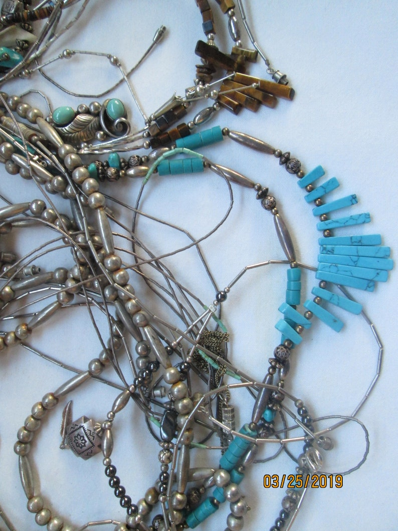 35 Native American Silver Necklace Lot Turquoise Bead and More