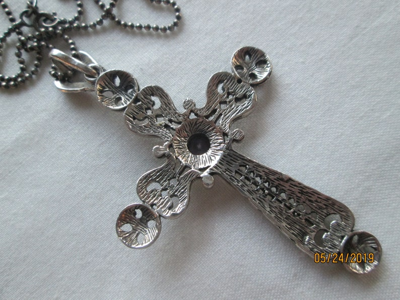 Amethyst Marcasite Sterling 3 Cross Pendant 20 Necklace