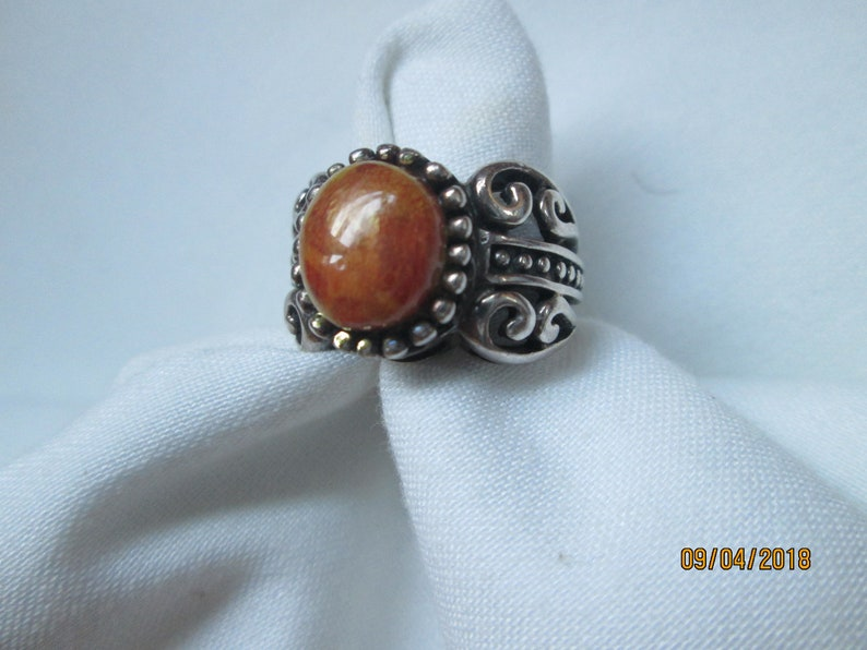 925 Sterling Amber Art Nouveau Ring size 6.5