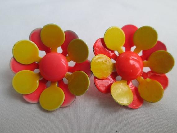 Orange Yellow Enamel Flower Clip On Earrings